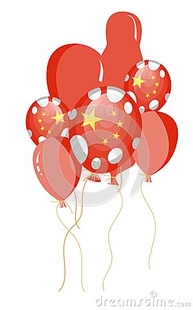 Red balloon of chinese flag