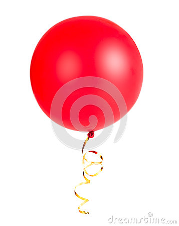 Free Red Balloon Photo With Gold String Or Ribbon Isolated Stock Photography - 36655872