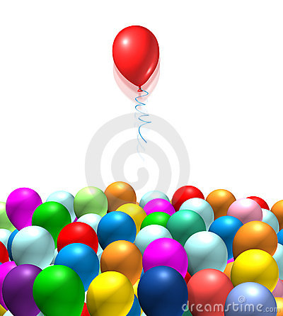Red balloon rising from the pack  isolated