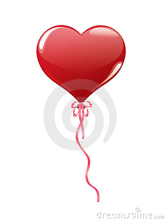 Red balloon in shape of heart