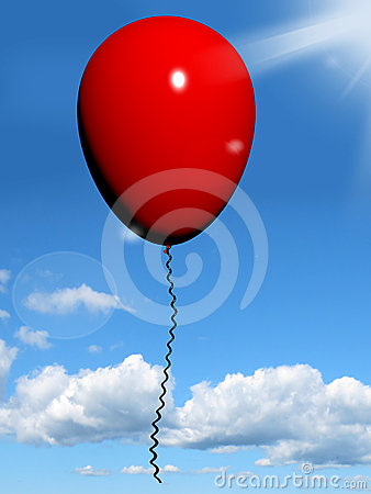 Red Balloon In The Sky For Celebration Or Party