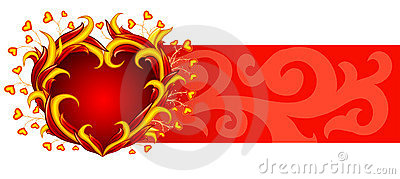 Red banner with burning heart