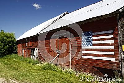 Red Barn, Blue Sky, American Flag
