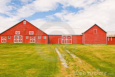 Red barn and farmyard