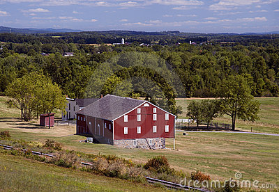 Red Barn with Railroad Tracks