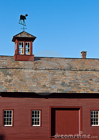 Red Barn with slate roof and cupola