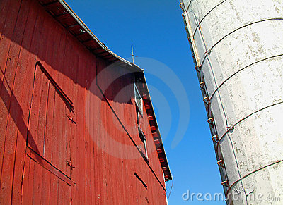 Red Barn and White Silo