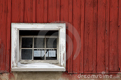 Red barn, white window