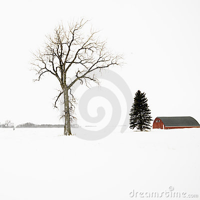 Red barn in winter.