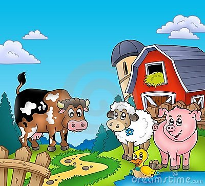 Free Red Barn With Farm Animals Royalty Free Stock Image - 15719576