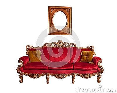 Red baroque sofa