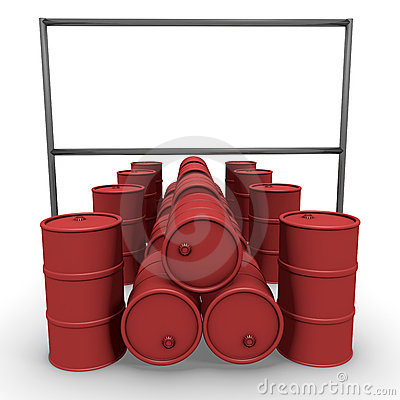 Red barrels with  billboard