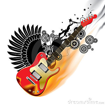 Red bass guitar in flame