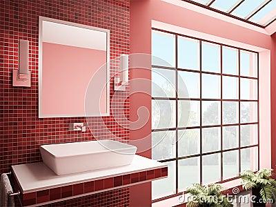 Red bathroom interior 3d render