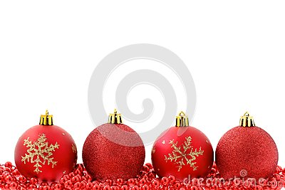 Red baubles Christmas background