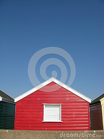 Red beach hut in Suffolk