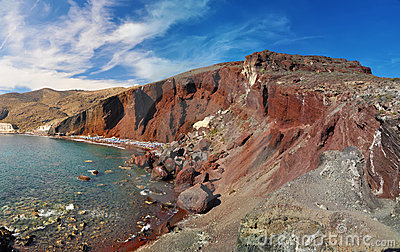 Red beach in Santorini island