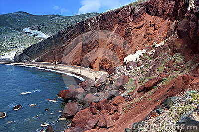 The Red beach at Santorini island, Greece