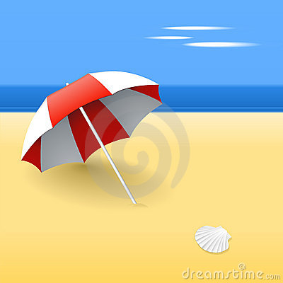 Red beach umbrella