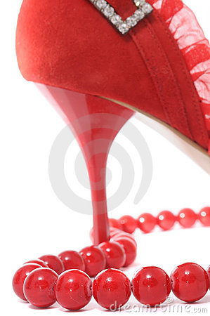 Red Beads and Stiletto Women s Shoe