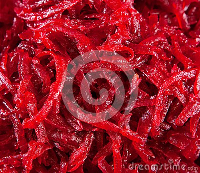 Red beet is cut small
