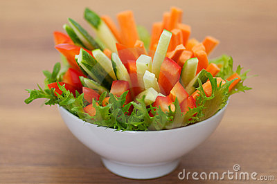 Red Bell pepper, cucumber and carrots straws with
