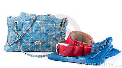 Red belt, jeans bag and skirt