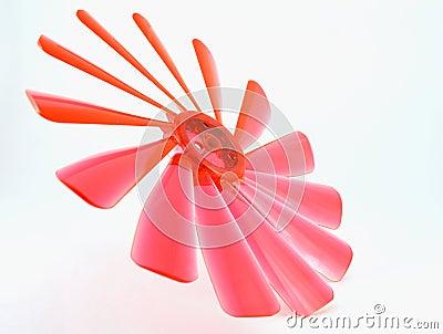 Red bended propeller