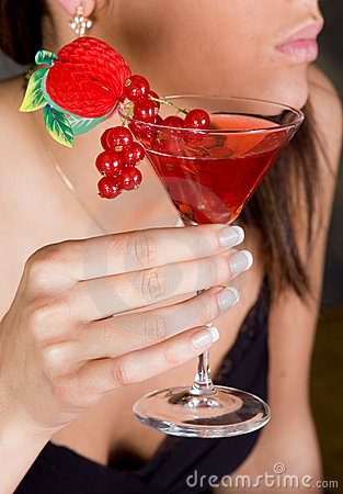 Red berries in a cocktail