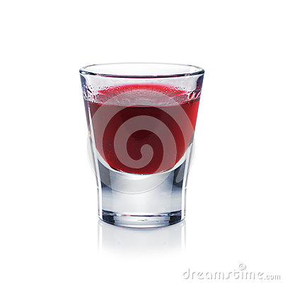Free Red Berries Liqueur Is The Shot Glass Isolated On White. Stock Image - 37933421