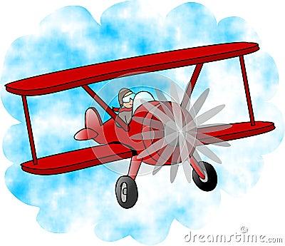 Red Bi-plane