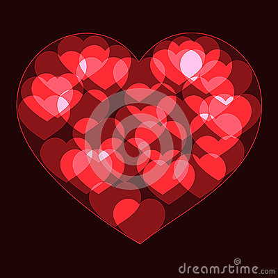 Free Red Big Heart Made Form Small Bokeh Neon Hearts Stock Image - 85360961