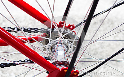Red Bike And Back Wheel Stock Photo  Image 45488260