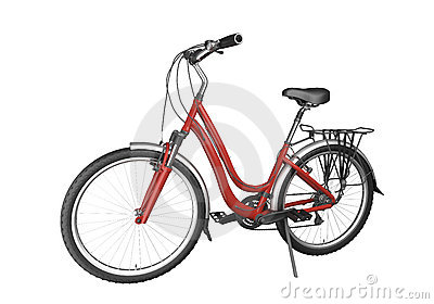 Red bike isoalted