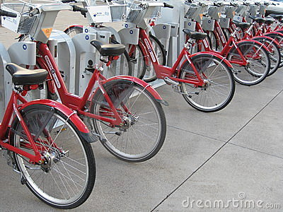 Red Bikes Editorial Stock Photo