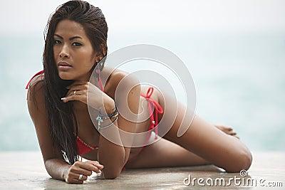 Red Bikini Beach Model