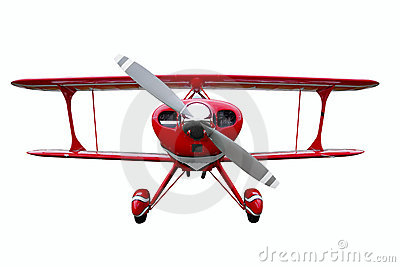 Red biplane cut out