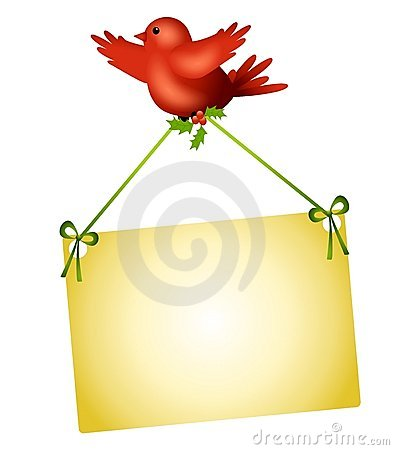 Red Bird Carrying Sign