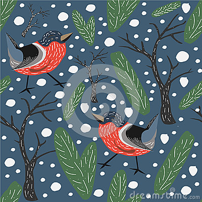 Free Red Bird Seamless Pattern. Blue Background With Spruce, Fir And Trees. Bullfinch Seamless Pattern. Royalty Free Stock Photography - 98047827