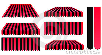 Red and black awnings