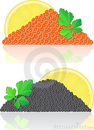 Red and black caviar with lemon and parsley