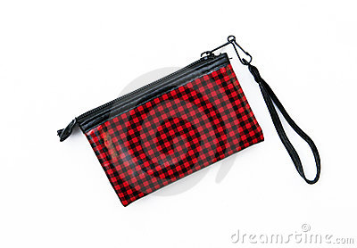 Red and Black checkered wallet purse