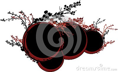 Red and Black Circles with Flowers