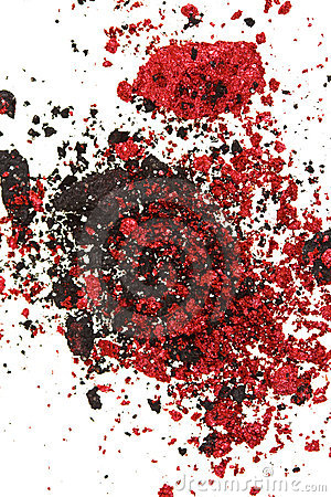 Red and black color crumbled eye shadows