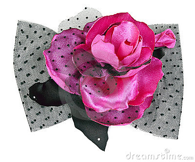 Red and black fabric flower with crystals