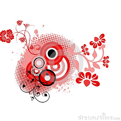 Red black floral background