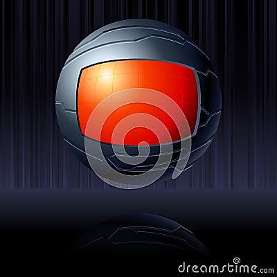 Red & Black futuristic globe with transparencies