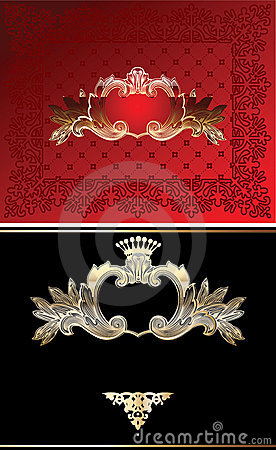 Red, Black And Gold  Ornate Background