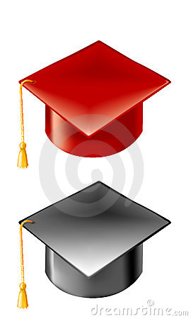 red and black graduation hats with gold tassels