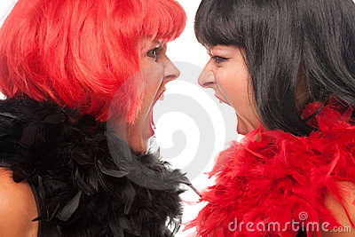 Red and Black Haired Women Screaming at Each Other